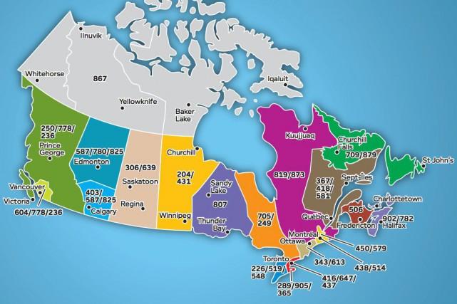 Carte des indicatifs régionaux au Canada... (dial10.ca)