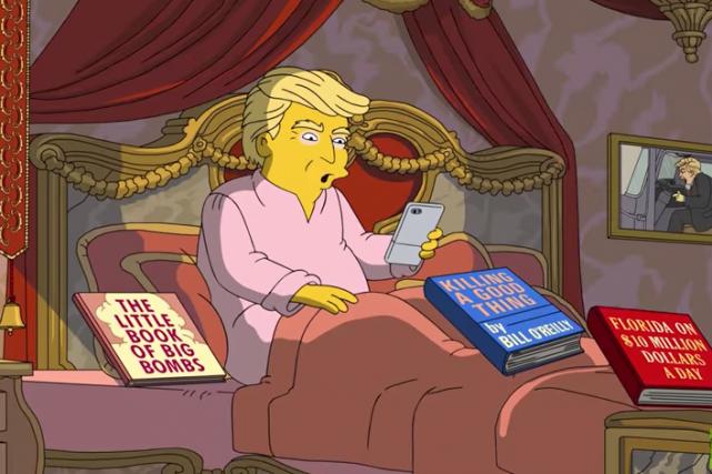 Donald Trump en version animée, au lit à... (Capture d'écran YouTube)
