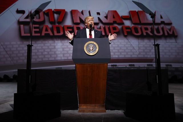 Le président américain Donald Trump a prononcé un... (Photo Evan Vucci, AP)