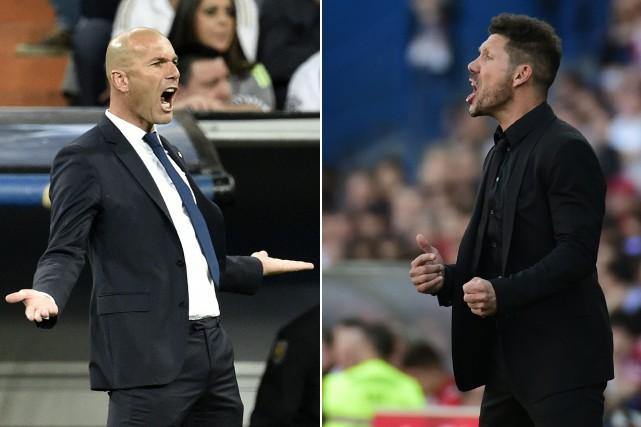 L'entraîneur du Real Madrid, Zinédine Zidane, et celui... (Photos AFP)