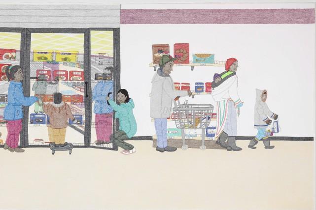 Une oeuvre de Annie Pootoogook, Congélateur de Cape...
