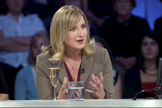 Emmanuelle Latraverse lors de son passage à Tout... (fournie par ICI Radio-Canada Télé)
