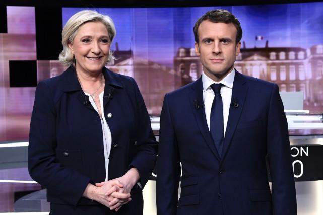 Marine Le Pen et Emmanuel Macron ont posé... (Photo Eric Feferberg, AFP)