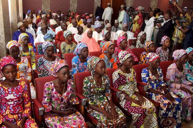 En octobre 2016, 21 lycéennes de Chibok avaient... (Archives AFP, Philip Ojisua)