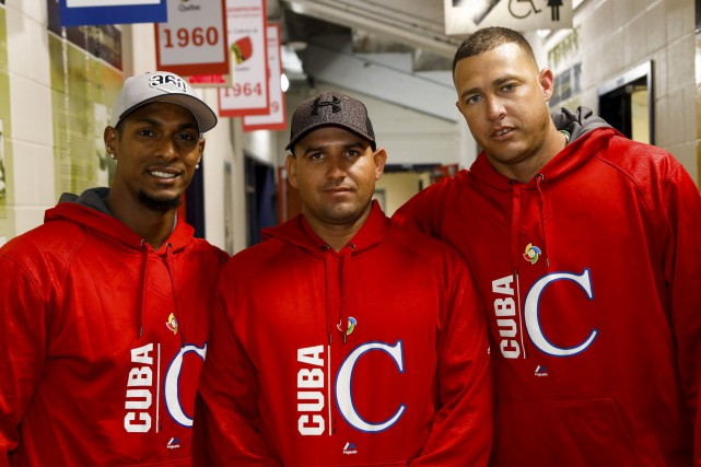 Les Cubains Yurisbel Gracial, Yordan Manduley et Lazaro... (Le Soleil, Caroline Grégoire)