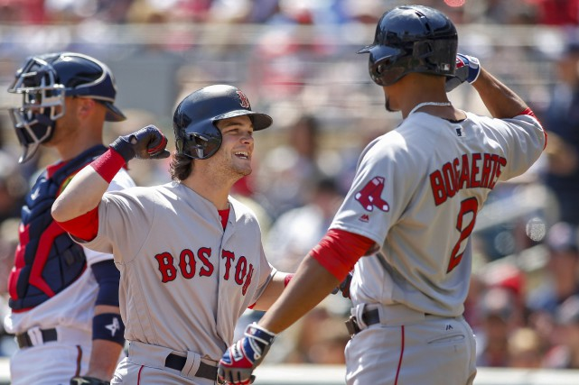 Andrew Benintendi et Xander Bogaerts.... (Photo Bruce Kluckhohn, USA TODAY Sports)
