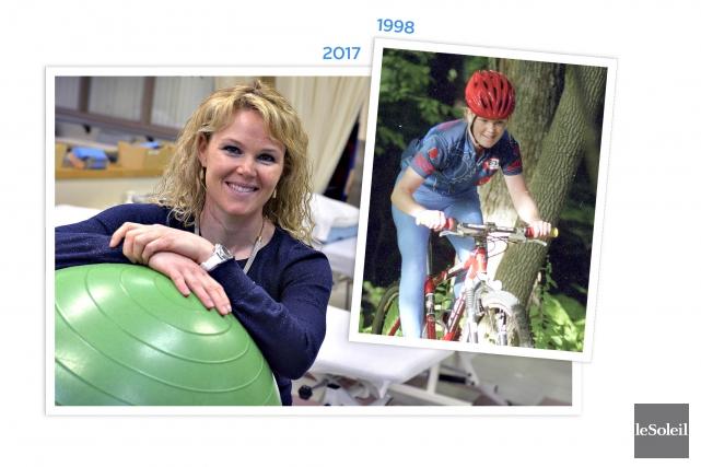 La cycliste Annie Hamel, après avoir elle-même frôlé... (Infographie Le Soleil)