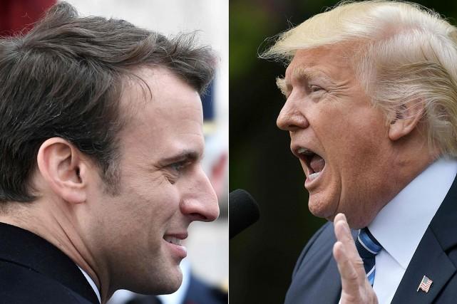 Le président désigné français Emmanuel Macron et son... (PHOTOS AGENCE FRANCE-PRESSE)