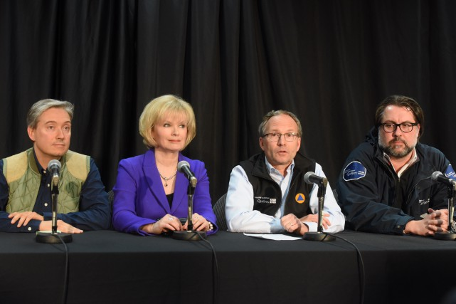 Lesministres François-Philippe Champagne,Julie Boulet,Martin Coiteux et David Heurtel... (Photo: François Gervais)