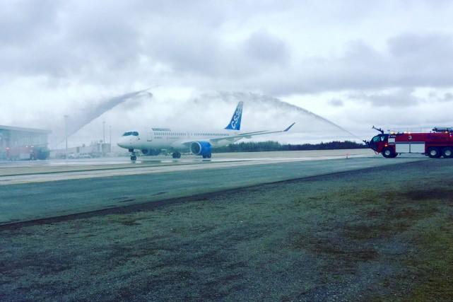 Lundi peu avant midi, le CS300 de Bombardier... (fournie par l'aéroport international Jean-Lesage)