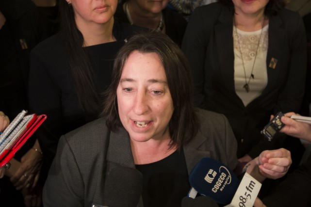 Melanie Sarazin lors d'un point de presse à... (PHOTO OLIVIER PONTBRIAND, ARCHIVES LA PRESSE)