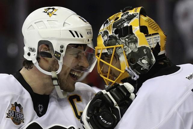 Sidney Crosby, Marc-Andre Fleury et les Penguins de... (Agence France-Presse)
