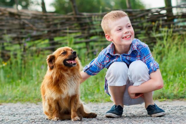 Les enfants sont moins stressés en présence de leur chien, selon une étude... (PHOTO THINKSTOCK)