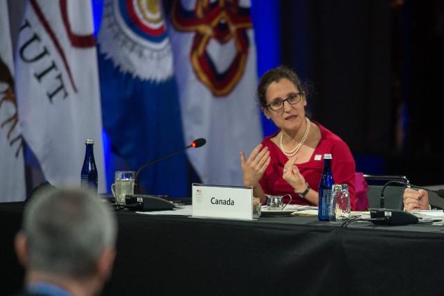 La ministre des Affaires étrangères du Canada, Christina... (PHOTO NICHOLAS KAMM, AFP)