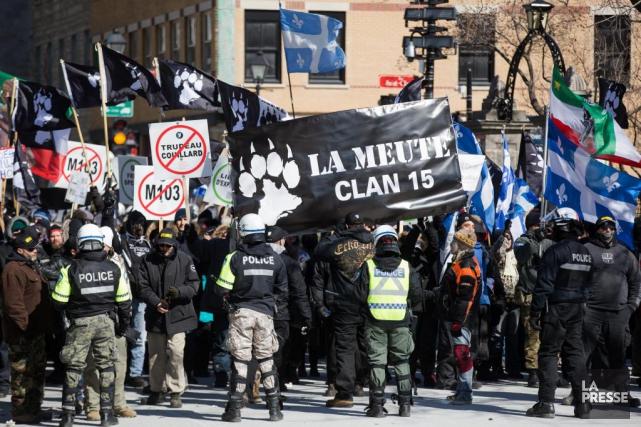 Des groupes d'extrême droite comme La Meute tentent... (PHOTO SIMON GIROUX, LA PRESSE)