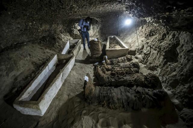 Le site archéologique date «de l'époque gréco-romaine, entre... (AFP, KHALED DESOUKI)