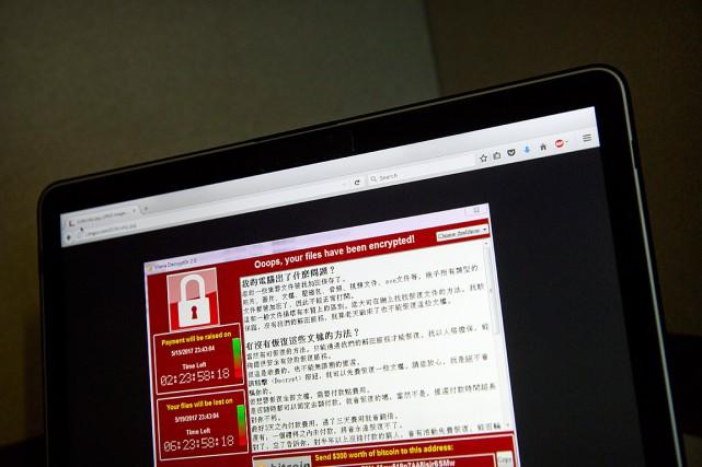 Un écran d'ordinateur affiche un message de demande... (PHOTO Mark Schiefelbein, ASSOCIATED PRESS)