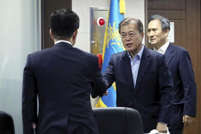 Le président sud-coréen, Moon Jae-In, a tenu une... (AFP)