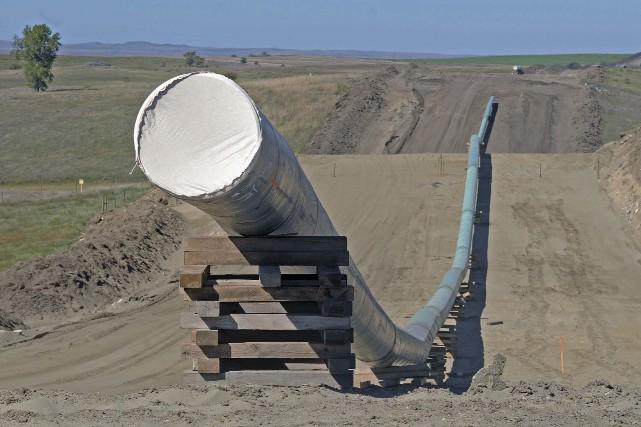 Sur la photo, une section du pipeline en... (Photo Tom Stromme/The Bismarck Tribune via AP)