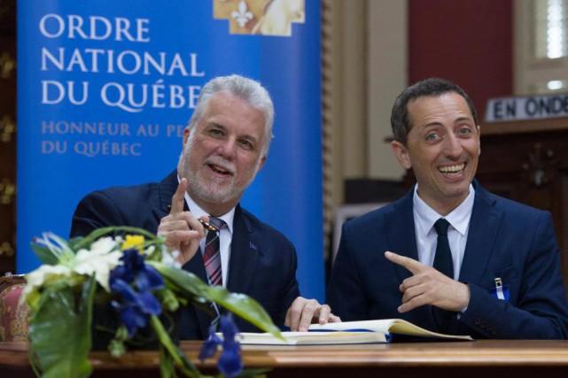Le premier ministre du Québec, Philippe Couillard, et... (PhotoJacques Boissinot, La Presse canadienne)
