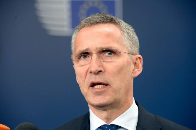 Jens Stoltenberg, secrétaire général de l'OTAN... (AFP, THIERRY CHARLIER)