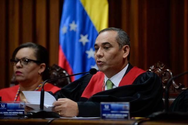 Maikel Moreno, président de la Cour suprême, a... (photo FEDERICO PARRA, AFP)