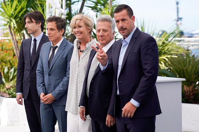 De droite à gauche: Adam Sandler,Dustin Hoffman, Emma... (PHOTO OLIVIER MORIN, AGENCE FRANCE-PRESSE)