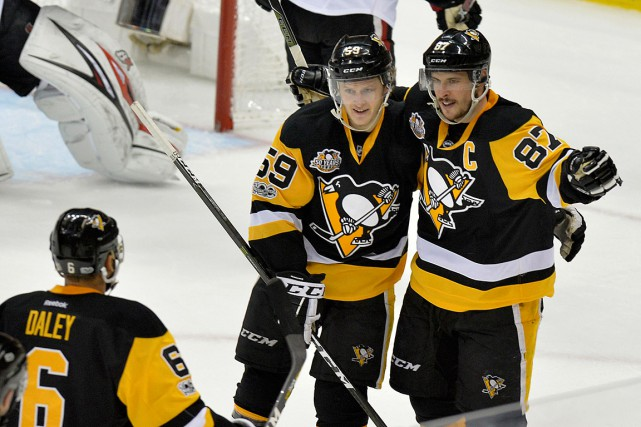 Sidney Crosby a amassé un but et une... (Photo Don Wright, USA Today)