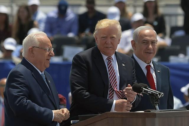 Le président israélien Reuven Rivlin, Donald Trump et... (Photo Mandel Ngan, Agence France-Presse)