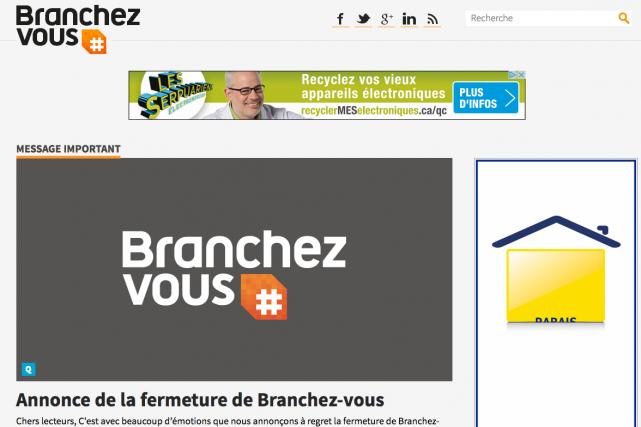 Un des pionniers de web québécois, le site Branchez-vous, cessera ses activités... (Capture d'écran du site de Branchez-vous)