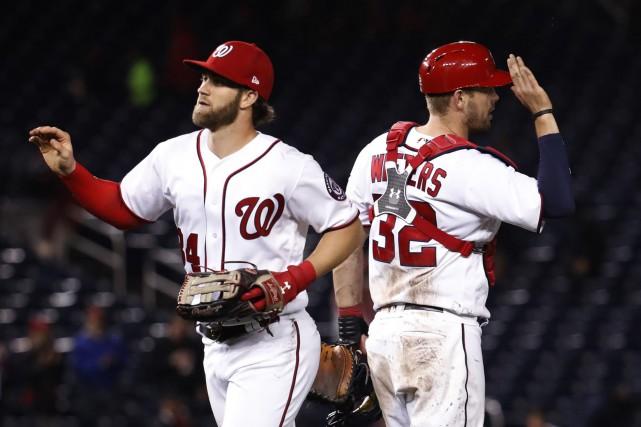 Bryce Harper et Matt Wieters... (PHOTO Manuel Balce Ceneta, AP)