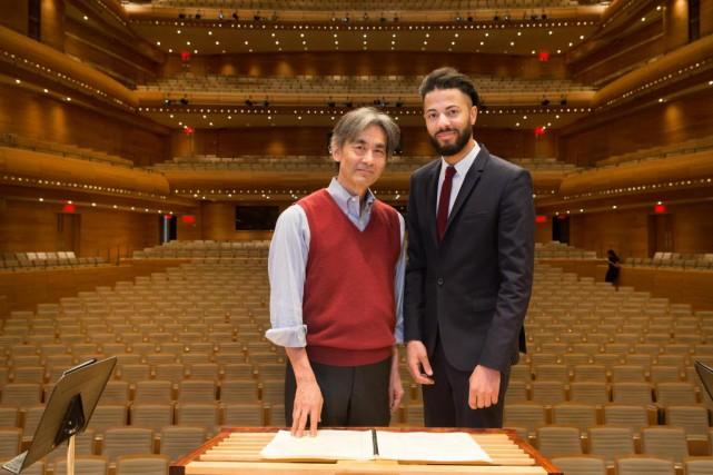 Kent Nagano et le compositeurmontréalais Samy Moussa ont... (PHOTO ROBERT SKINNER, LA PRESSE)