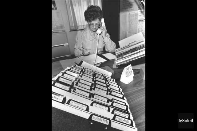 L'infirmière Germaine Tremblay au début d'Info-Santé.... (Photo: Archives Le Soleil, Juillet 1984.)