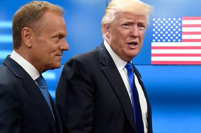 Le président du conseil européen Donald Tusk et... (Photo THIERRY CHARLIER, Agence France-Presse)