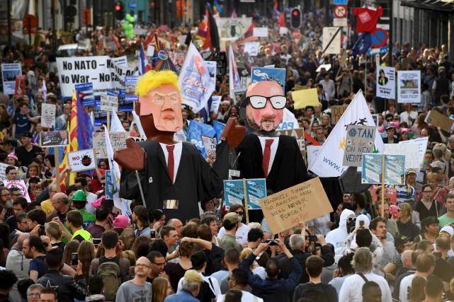 Une marche appelée Trump is not welcome (Trump... (AFP, Eric Feferberg)