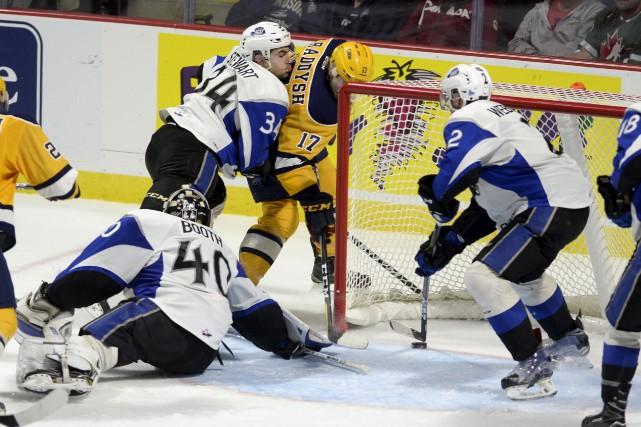 Taylor Raddysh, des Otters d'Erie, a inscrit deux... (La Presse canadienne, Adrian Wyld)