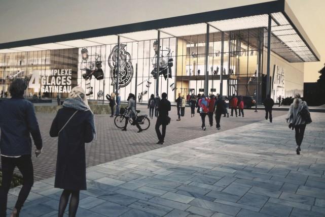 Maquette du projet de nouvel aréna Guertin à... (Courtoisie)