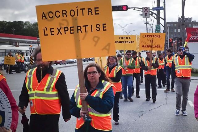 Les ingénieurs de l'État québécois ont fait sentir leur mécontentement face au... (Spectre Média, René Marquis)