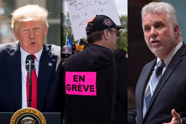 Le président américain Donald Trump, un travailleur de... (La Presse canadienne, Andrew Harnik, Jacques Boissinot)