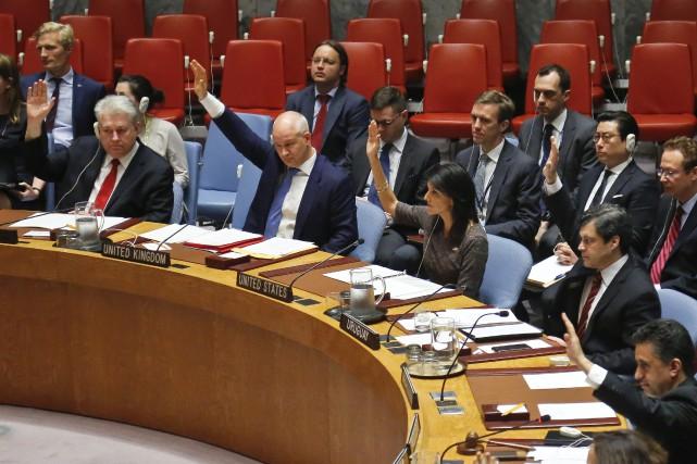 La résolution à l'initiative des États-Unis. La Chine,alliée... (Photo Bebeto Matthews, AP)
