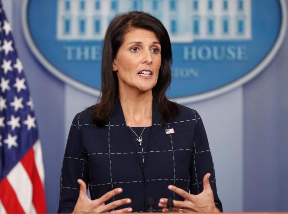 Nikki Haley, ambassadrice à l'ONU pour les États-Unis... (AP, Pablo Martinez Monsivais)