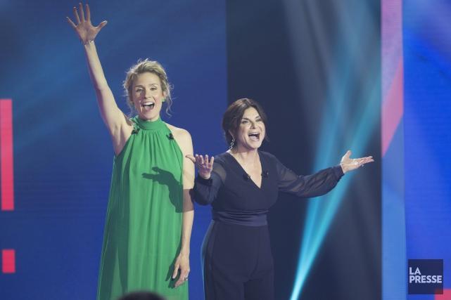 Les comédiennes Édith Cochrane et Guylaine Tremblay ont... (La Presse, Olivier Jean)