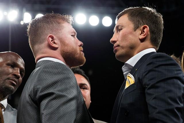 Saul «Canelo» Alvarez (à gauche) et Gennady Golovkin... (Photo Erik Verduzco, archives AP/Las Vegas Review-Journal)