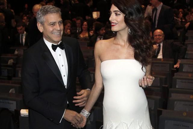 George et Amal Clooney à la cérémonie des... (PHOTO ARCHIVES AP)