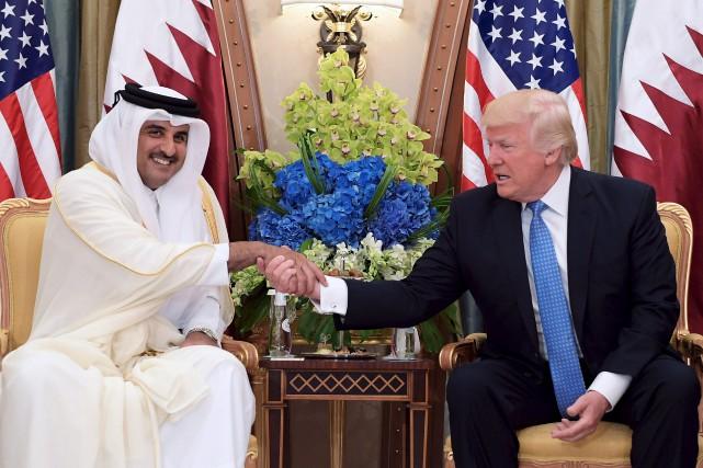 Donald Trump en présence de l'émir du Qatar,... (AFP, Mandel Ngan)