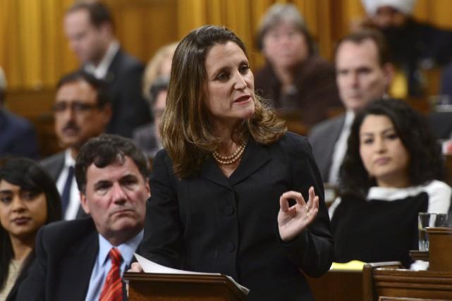 La ministre des Affaires étrangères, Chrystia Freeland, a... (La Presse canadienne, Sean Kilpatrick)