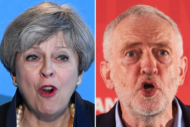Theresa May et Jeremy Corbyn... (PHOTOS ARCHIVES AFP)