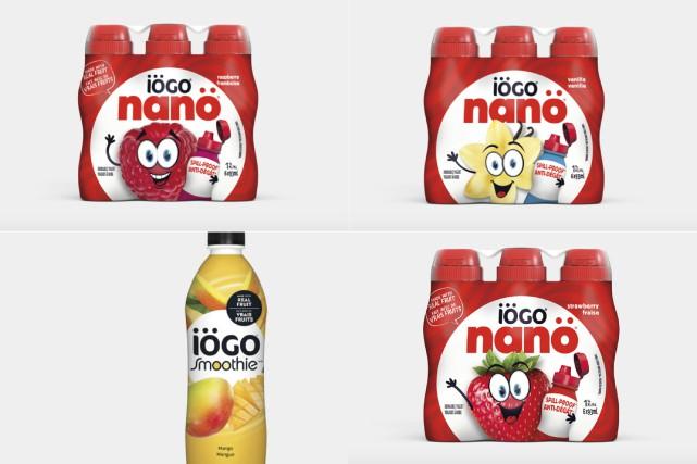 La présence possible de «fragments de plastique» dans des yogourts à boire... (Captures d'écran, site web de Iögo)