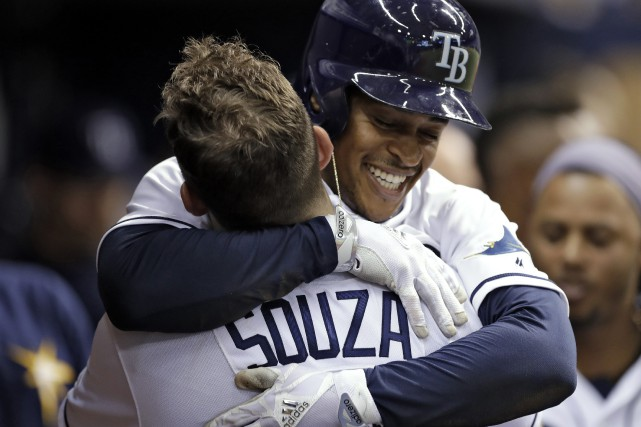 Steven Souza fils et Mallex Smith ont tous... (Photo Chris O'Meara, AP)