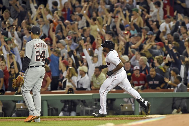 Le voltigeur Jackie Bradley Jr. a frappé un... (Photo Bob DeChiara, USA TODAY Sports)